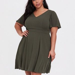 Torrid Olive Gauze Flutter Sleeve Skater Dress